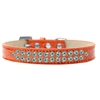 Mirage Pet Products Two Row AB Crystal Size 14 Orange Ice Cream Dog Collar