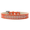 Mirage Pet Products Two Row Clear Crystal Size 14 Orange Ice Cream Dog Collar