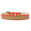 Mirage Pet Products Two Row Lime Green Crystal Size 16 Orange Ice Cream Dog Collar