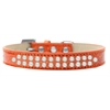 Mirage Pet Products Two Row Pearl Size 16 Orange Ice Cream Dog Collar