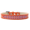Mirage Pet Products Two Row Purple Crystal Size 14 Orange Ice Cream Dog Collar