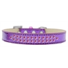 Mirage Pet Products Two Row Bright Pink Crystal Size 14 Purple Ice Cream Dog Collar