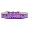 Mirage Pet Products Two Row Purple Crystal Size 14 Purple Ice Cream Dog Collar