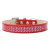 Mirage Pet Products Two Row Bright Pink Crystal Size 18 Red Ice Cream Dog Collar