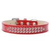 Mirage Pet Products Two Row Clear Crystal Size 12 Red Ice Cream Dog Collar