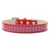 Mirage Pet Products Two Row Purple Crystal Size 18 Red Ice Cream Dog Collar
