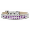 Mirage Pet Products Two Row Purple Crystal Size 16 Silver Ice Cream Dog Collar