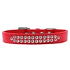Mirage Pet Products Two Row Clear Crystal Size 18 Red Dog Collar
