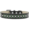 Mirage Pet Products Sprinkles Ice Cream Dog Collar Pearl and Emerald Green Crystals Size 16 Black