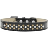 Mirage Pet Products Sprinkles Ice Cream Dog Collar Pearl and Yellow Crystals Size 16 Black
