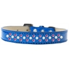 Mirage Pet Products Sprinkles Ice Cream Dog Collar Pearl and Bright Pink Crystals Size 16 Blue