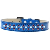 Mirage Pet Products Sprinkles Ice Cream Dog Collar Pearl and Red Crystals Size 18 Blue