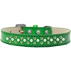 Mirage Pet Products Sprinkles Ice Cream Dog Collar Pearl and Lime Green Crystals Size 12 Emerald Green