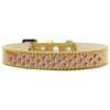 Mirage Pet Products Sprinkles Ice Cream Dog Collar Bright Pink Crystals Size 14 Gold