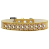 Mirage Pet Products Sprinkles Ice Cream Dog Collar Pearl and Light Pink Crystals Size 16 Gold
