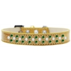 Mirage Pet Products Sprinkles Ice Cream Dog Collar Pearl and Emerald Green Crystals Size 18 Gold