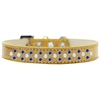Mirage Pet Products Sprinkles Ice Cream Dog Collar Pearl and Blue Crystals Size 14 Gold
