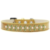 Mirage Pet Products Sprinkles Ice Cream Dog Collar Pearl and Lime Green Crystals Size 16 Gold