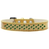 Mirage Pet Products Sprinkles Ice Cream Dog Collar Emerald Green Crystals Size 14 Gold