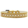 Mirage Pet Products Sprinkles Ice Cream Dog Collar Pearl and Yellow Crystals Size 14 Gold