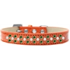 Mirage Pet Products Sprinkles Ice Cream Dog Collar Pearl and Emerald Green Crystals Size 14 Orange