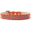 Mirage Pet Products Sprinkles Ice Cream Dog Collar Blue Crystals Size 14 Orange