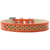 Mirage Pet Products Sprinkles Ice Cream Dog Collar Emerald Green Crystals Size 14 Orange