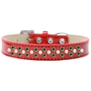 Mirage Pet Products Sprinkles Ice Cream Dog Collar Pearl and Emerald Green Crystals Size 14 Red