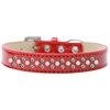 Mirage Pet Products Sprinkles Ice Cream Dog Collar Pearl and AB Crystals Size 16 Red