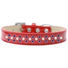 Mirage Pet Products Sprinkles Ice Cream Dog Collar Pearl and Blue Crystals Size 16 Red