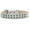 Mirage Pet Products Sprinkles Ice Cream Dog Collar Pearl and Emerald Green Crystals Size 14 Silver