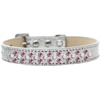 Mirage Pet Products Sprinkles Ice Cream Dog Collar Pearl and Bright Pink Crystals Size 18 Silver