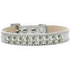 Mirage Pet Products Sprinkles Ice Cream Dog Collar Pearl and Lime Green Crystals Size 16 Silver