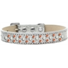 Mirage Pet Products Sprinkles Ice Cream Dog Collar Pearl and Orange Crystals Size 14 Silver