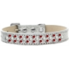 Mirage Pet Products Sprinkles Ice Cream Dog Collar Pearl and Red Crystals Size 16 Silver