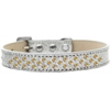 Mirage Pet Products Sprinkles Ice Cream Dog Collar Yellow Crystals Size 18 Silver