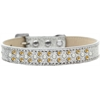 Mirage Pet Products Sprinkles Ice Cream Dog Collar Pearl and Yellow Crystals Size 18 Silver