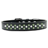 Mirage Pet Products Sprinkles Dog Collar Pearl and Lime Green Crystals Size 14 Black