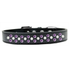 Mirage Pet Products Sprinkles Dog Collar Pearl and Purple Crystals Size 12 Black
