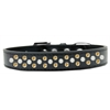 Mirage Pet Products Sprinkles Dog Collar Pearl and Yellow Crystals Size 14 Black