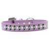 Mirage Pet Products Sprinkles Dog Collar Pearl and Emerald Green Crystals Size 14 Lavender