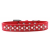Mirage Pet Products Sprinkles Dog Collar Pearl and AB Crystals Size 18 Red