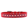 Mirage Pet Products Sprinkles Dog Collar Pearl and Blue Crystals Size 18 Red