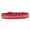 Mirage Pet Products Sprinkles Dog Collar Pearl and Clear Crystals Size 16 Red