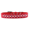 Mirage Pet Products Sprinkles Dog Collar Pearl and Purple Crystals Size 16 Red