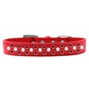 Mirage Pet Products Sprinkles Dog Collar Pearl and Red Crystals Size 12 Red