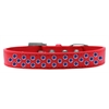 Mirage Pet Products Sprinkles Dog Collar Blue Crystals Size 14 Red