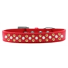 Mirage Pet Products Sprinkles Dog Collar Pearl and Yellow Crystals Size 12 Red