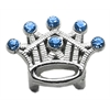 "Mirage Pet Products 3/8"" Slider Crystal Crown Charm Blue 3/8"""
