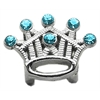 "Mirage Pet Products 3/8"" Slider Crystal Crown Charm Turquoise"